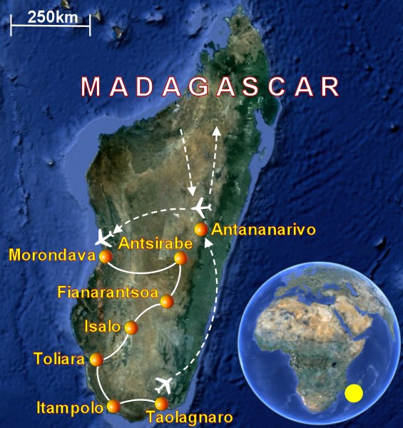 Suggested travel itinerary in Madagascar